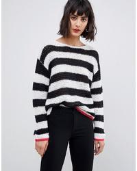 Jersey oversized de rayas horizontales en blanco y negro de Pieces