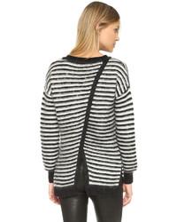 Jersey oversized de rayas horizontales en blanco y negro de Rebecca Minkoff