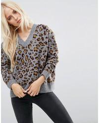 Jersey oversized estampado gris de Asos
