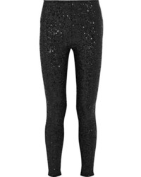 Leggings de lentejuelas negros de Saint Laurent