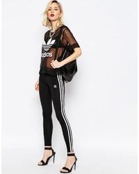 Leggings de Rayas Verticales Negros y Blancos de adidas