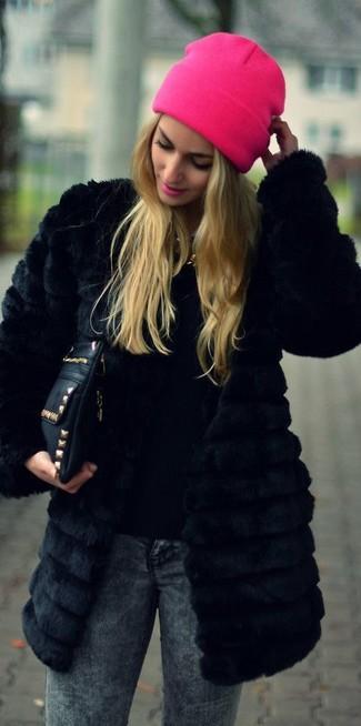 Abrigo de piel negro de New Look Plus
