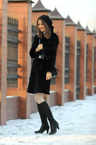 Abrigo de piel negro de Monki
