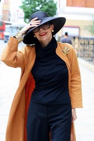 Cómo combinar un sombrero: Haz de un abrigo duster naranja y un sombrero tu atuendo para un look agradable de fin de semana.