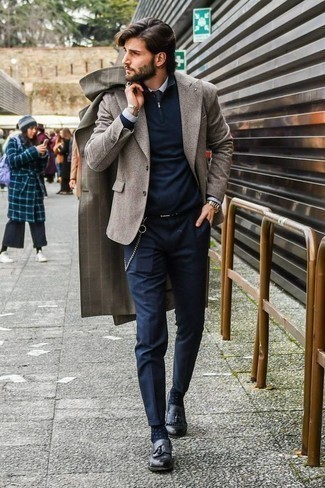 Jersey de cuello alto con cremallera azul marino de Hackett London