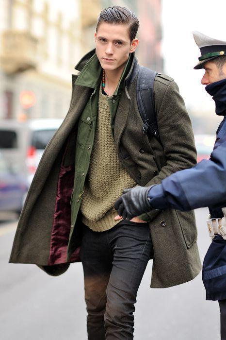 Abrigo verde oliva hombre