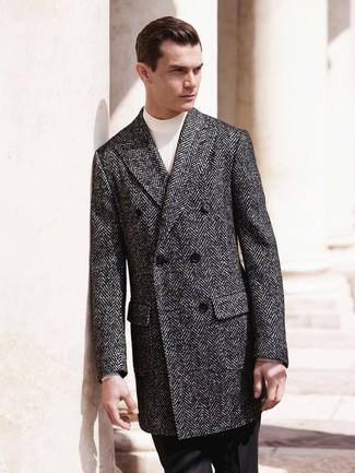 Abrigo largo de espiguilla en gris oscuro de A-Cold-Wall*