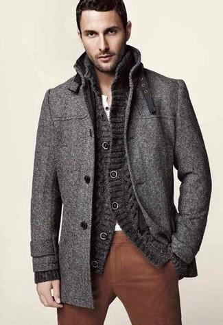 Abrigo largo en gris oscuro de Loro Piana