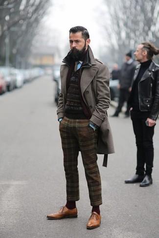 Pantalón de vestir de lana de tartán marrón de Etro