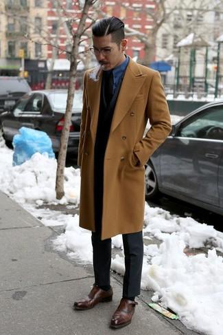 Zapatos con doble hebilla de cuero en marrón oscuro de Henderson Baracco