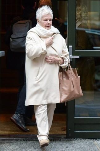 Botines Pantalón Dench Judi Abrigo de chino blanco blanco Look qTaw8nf4f