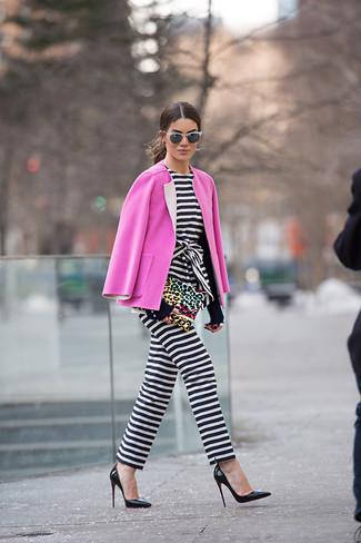 de rosa blanco combinar Cómo rayas zapatos negro y mono horizontales abrigo en IgwIOxFq