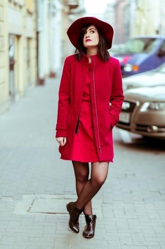 Vestido skater rojo de ASOS DESIGN