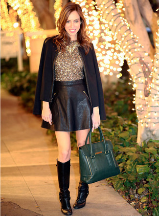 36a5b66294 Cómo combinar una falda skater de cuero negra (41 looks de moda ...
