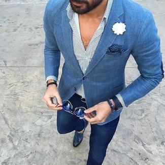 azul Cómo blazer chino manga de a camisa pantalón larga lunares blanca combinar TrnF4r