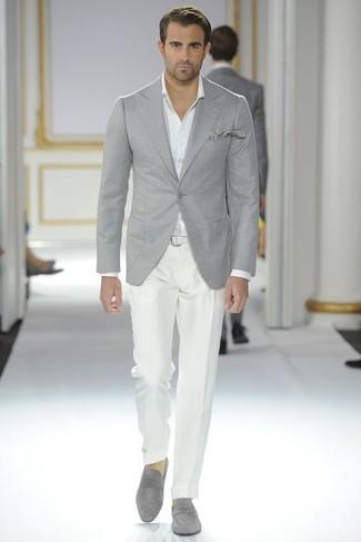 448b05b458 Cómo combinar un blazer gris con un mocasín gris (10 looks de moda ...
