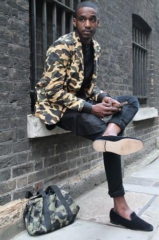 Mocasín de ante negro de Saint Laurent