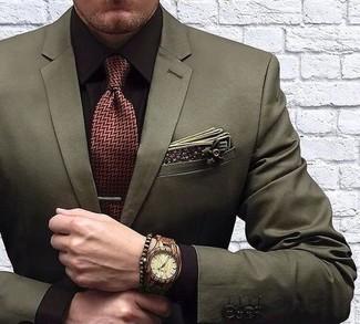 Cómo combinar: blazer verde oliva, camisa de vestir en marrón oscuro, corbata de espiguilla burdeos, pañuelo de bolsillo de algodón con print de flores verde oliva
