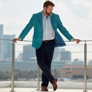 Cómo combinar un pañuelo de bolsillo a lunares azul: Ponte un blazer en verde azulado y un pañuelo de bolsillo a lunares azul transmitirán una vibra libre y relajada. Botas safari de cuero marrónes levantan al instante cualquier look simple.