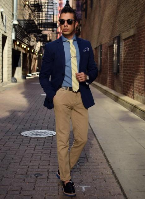 de vestir azul Cómo chino blazer pantalón claro camisa marino combinar marrón azul YYaqX