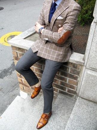 tartán marrón celeste de de Cómo combinar vestir camisa blazer pantalón vestir Zapatos de IfwqtqSa