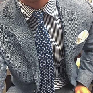 Corbata estampada azul marino de Charvet