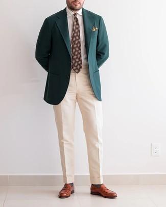 Cómo combinar unos calcetines en gris oscuro: Emparejar un blazer verde oscuro con unos calcetines en gris oscuro es una opción atractiva para el fin de semana. Agrega mocasín de cuero en tabaco a tu apariencia para un mejor estilo al instante.