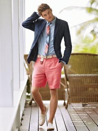 Look de moda Blazer Azul Marino, Camisa de Vestir de Rayas Verticales Celeste,