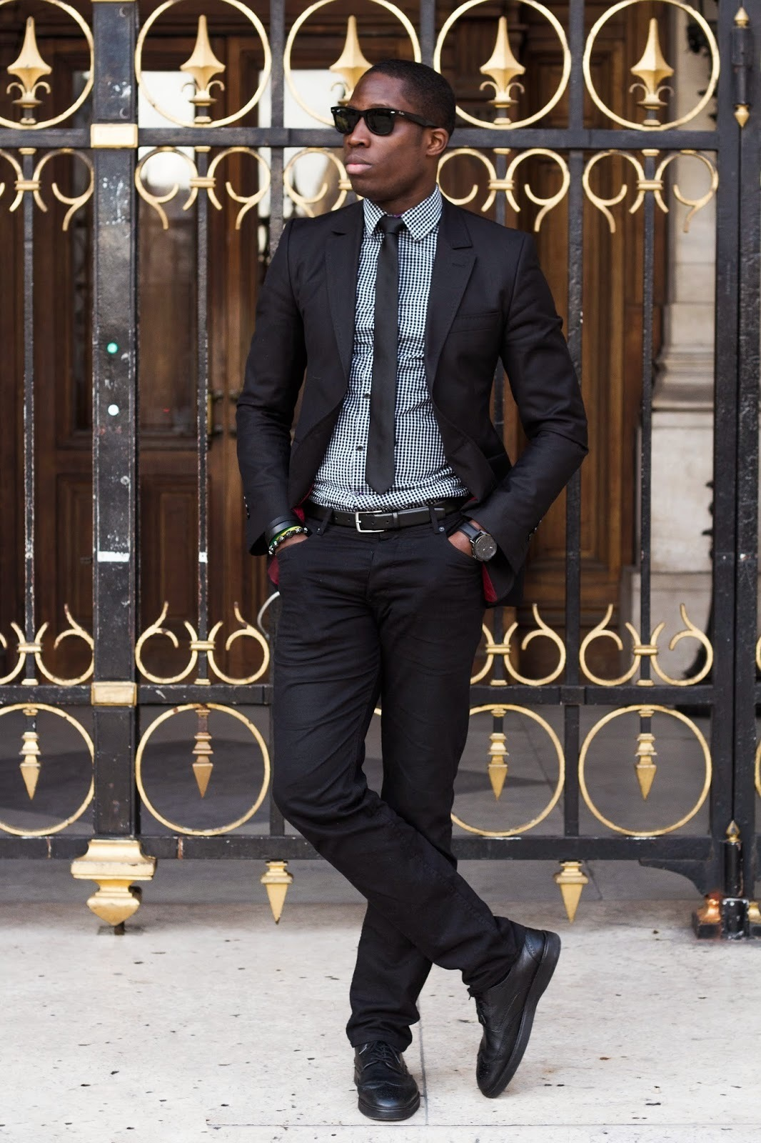 cuadro blanco vichy negro y camisa de vestir combinar Cómo en blazer negro de 8Uqvw0n4x