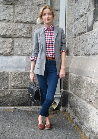 Outfit blazer cuadros mujer