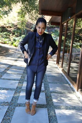 Como Combinar Un Blazer Azul Marino 224 Outfits Lookastic Espana