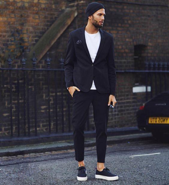 Camiseta Negro De Cuello Moda Blazer Con Blanca Circular Look wqIxvq