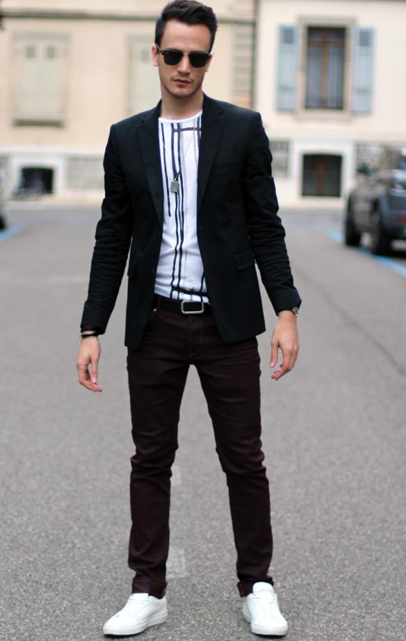Negro Circular Cómo Una Combinar Cuello Blazer Con Camiseta Un 6qP8t
