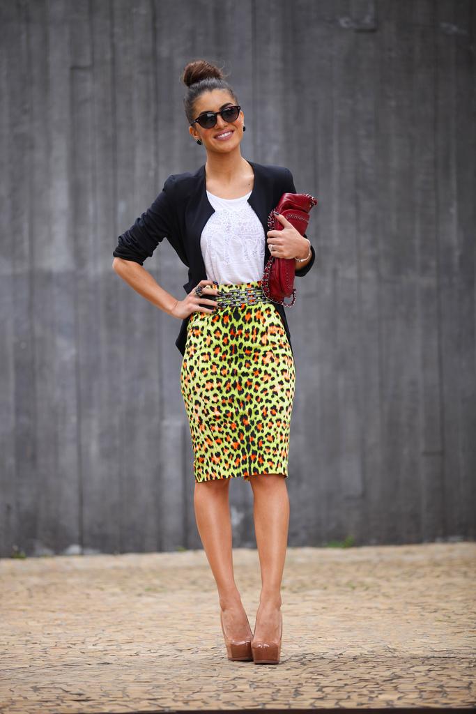 de combinar leopardo Cómo negro blanca amarilla sin camiseta lápiz blazer manga falda gddvzqw