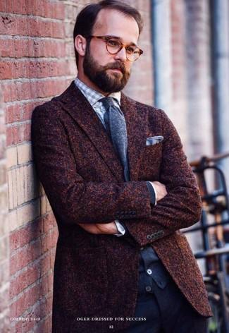Blazer de lana en marrón oscuro de Tagliatore