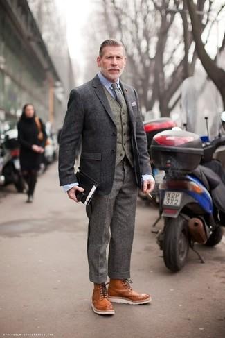 Chaleco de vestir de lana gris de Eleventy