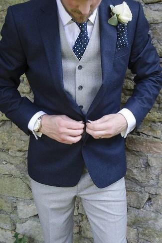 Pañuelo de bolsillo a lunares en azul marino y blanco de Lanvin