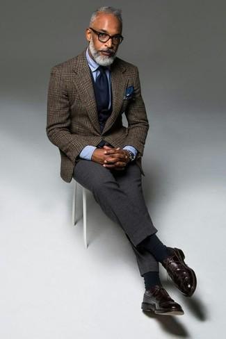 Pantalón de vestir de lana en gris oscuro de Emporio Armani