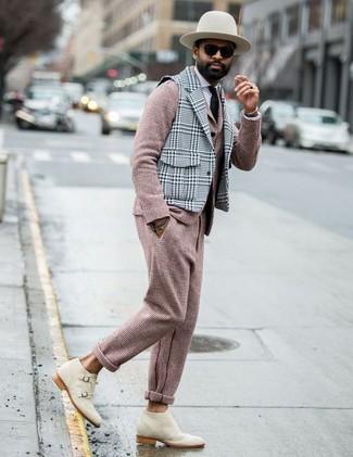 Chaleco de vestir de lana de tartán gris de Caruso