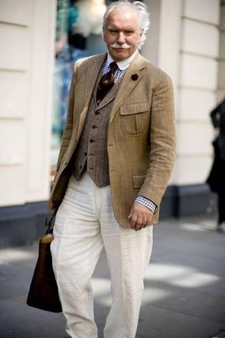 Como Combinar Unos Pantalones De Lino Para Hombres De 60 Anos 2 Outfits Lookastic Espana