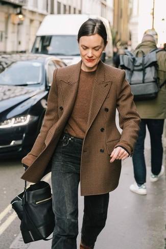 Jersey con cuello circular marrón de Aspesi