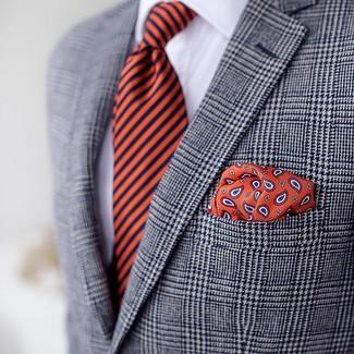 Cómo combinar: blazer de tartán gris, camisa de vestir blanca, corbata de rayas verticales naranja, pañuelo de bolsillo de paisley naranja