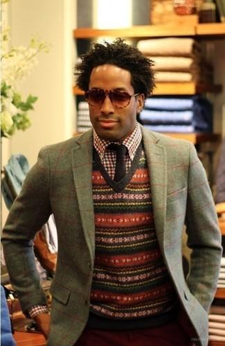 bf30b2feb1 Cómo combinar un blazer gris con un pantalón chino rojo (10 looks de ...