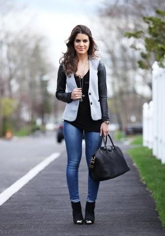 Blazer gris con negro mujer