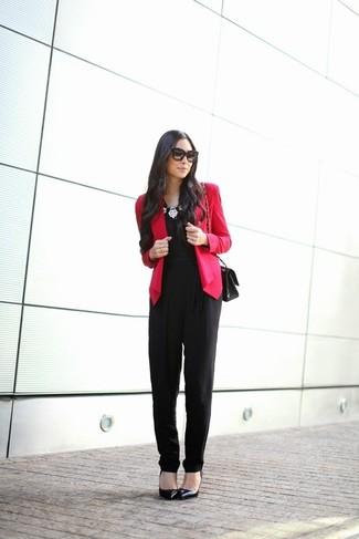 3007110a23f7 Cómo combinar un mono con un blazer (34 looks de moda)   Moda para ...