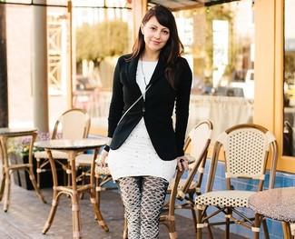 Blazer negro tunica a lunares blanca leggings estampados negros y blancos large 2364