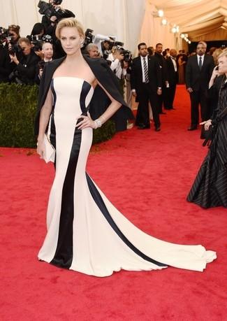 Blazer negro vestido de noche de rayas verticales blanco y negro cartera sobre de saten blanca large 2265