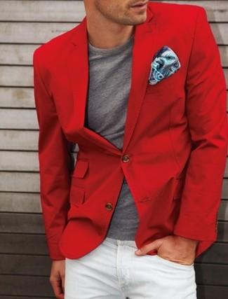 Cómo combinar un blazer de algodón rojo: Si buscas un estilo adecuado y a la moda, considera emparejar un blazer de algodón rojo con unos vaqueros blancos.