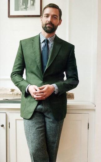 Blazer verde oscuro camisa de vestir en blanco y azul marino pantalon de vestir verde oscuro large 1522