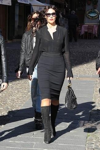 Blusa de botones negra falda lapiz negra botas de cana alta negras large 13810